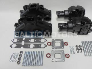 Mercruiser V6-4.3L Dry Joint Exhaust manifolds + elbows 7°, full set 864612T01 + 864309T01 х 2
