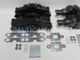 Mercruiser V8-5.0, 5.7, 6.2L Dry Joint Exhaust manifolds + elbows 7°, full set 865735A03 + 864309T01 x 2